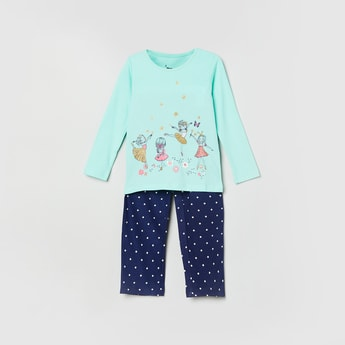 MAX Printed Round Neck T-Shirt with Pants