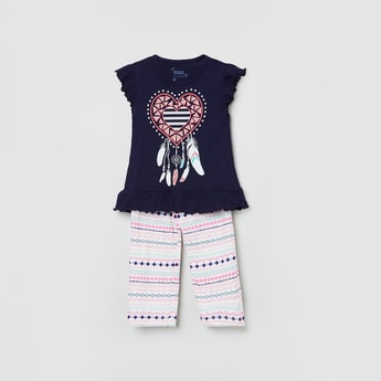 MAX Printed Round Neck T-shirt with Striped Pants