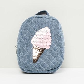 MAX Sequined Zip Closure Denim Backpack
