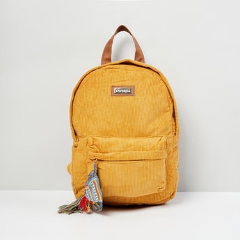 MAX Solid Textured Zip Closure Backpack