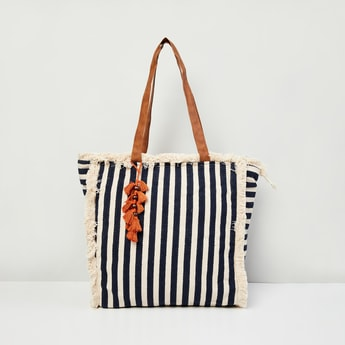 MAX Striped Zip Closure Handbag