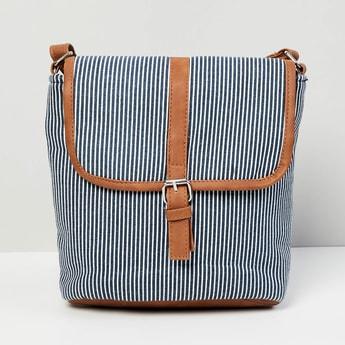 MAX Striped Flap-Closure Sling Bag