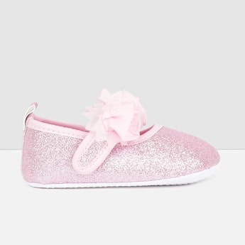 MAX Shimmery Ballerinas with Embellished Flower Detail