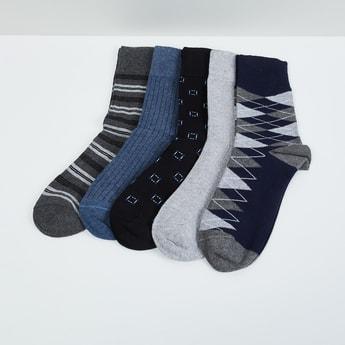 MAX Patterned Calf Length Socks - Pack Of 5