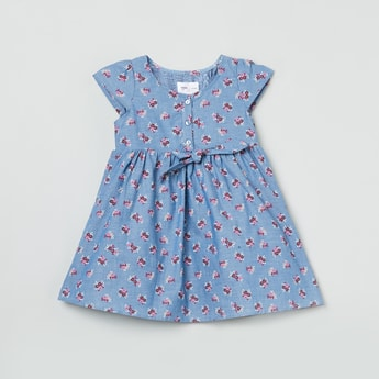 MAX Printed Round Neck A-lLne Dress