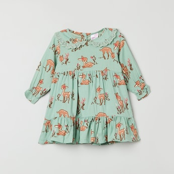 MAX Printed Full Sleeves A-line Dress