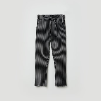 MAX Striped Knit Full-Length Trousers