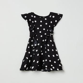 MAX Polka Dot Print Ruffled Layered Dress