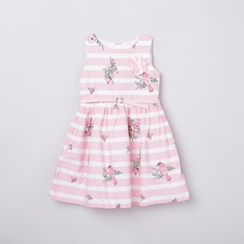 MAX Printed A-Line Dress with Rosette Detail