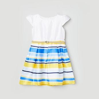 MAX Striped Cap Sleeves A-Line Dress