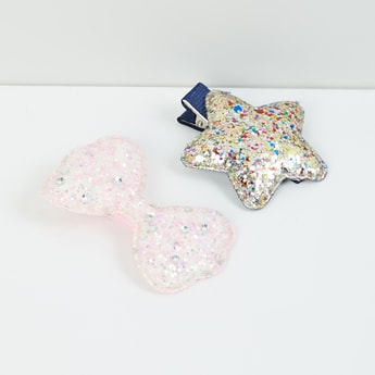 MAX Glittered Bow & Star Shaped Hair Clips - Set of 2
