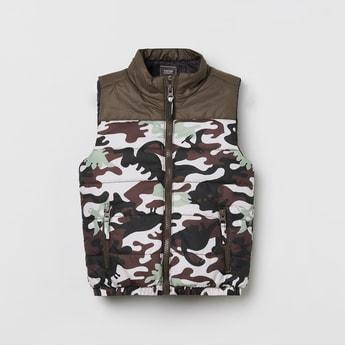 MAX Camouflage Print Sleeveless Jacket