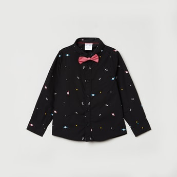 MAX Printed Full Sleeves Casual Shirt with Bow Tie