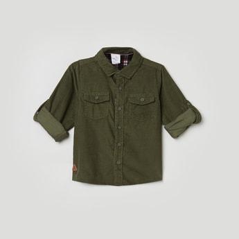 MAX Solid Spread Collar Corduroy Shirt