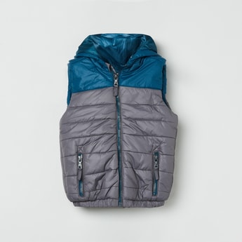 MAX Colourblocked Sleeveless Hooded Quilted Jacket