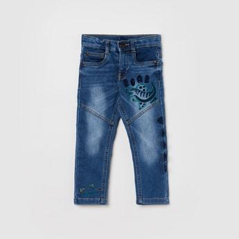MAX Embroidered Medium Washed Slim Fit Denim Jeans