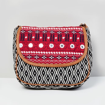 MAX Embroidered Flap Closure Sling Bag