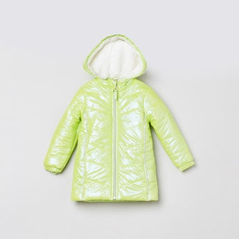 MAX Solid Full Sleeves Quilted Hooded Jacket