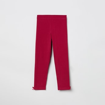 MAX Solid Elasticated Bow Detailed Leggings