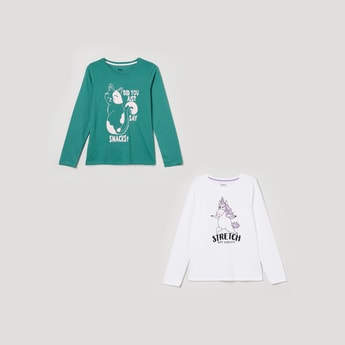 MAX Printed Full Sleeve T-shirt - Set of 2