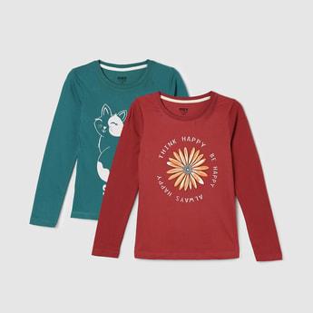MAX Typographic Print Round Neck T-shirt - Set of 2 Pcs