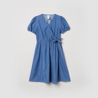 MAX Solid V-neck A-line Dress