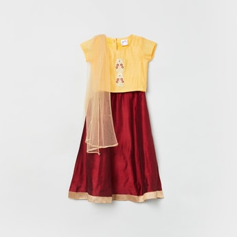 MAX Embroidered Blouse with Lehenga and Dupatta