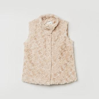 MAX Textured High Neck Sleeveless Jacket