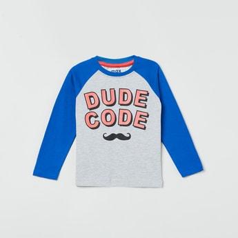 MAX Typographic Print Raglan Sleeves Crew Neck T-shirt