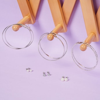 MAX Solid Set of Studs and Hoops- 6 Pairs