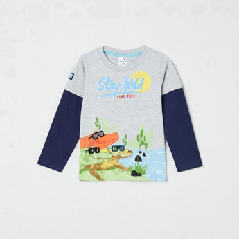 MAX Printed Crew Neck Doctor Sleeves T-shirt