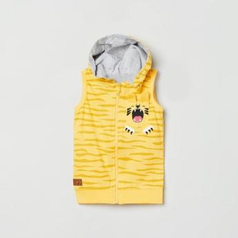 MAX Printed Sleeveless Hooded Sweatshirt
