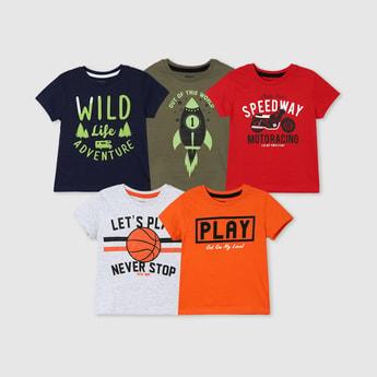 MAX Printed Crew Neck T-shirt- Set of 5