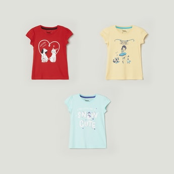 MAX Printed Round Neck T-shirts - Pack Of 3