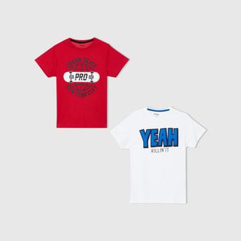 MAX Typographic Print Crew Neck T-shirt - Set of 2 Pcs