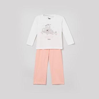 MAX Printed Round Neck T-shirt with Pyjama