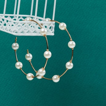 MAX Pearl Embellished Hoops