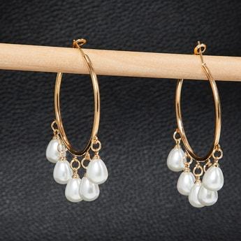 MAX Pearl Embellished Hoop Earrings