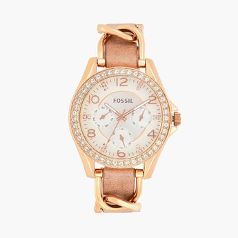 FOSSIL Riley Women Crystal-Encrusted Multifunctional Watch - ES3466