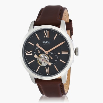 FOSSIL Men's Multi-functional Wristwatch with Leather Strap
