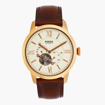 FOSSIL Men's Multi-functional Watch with Leather Strap