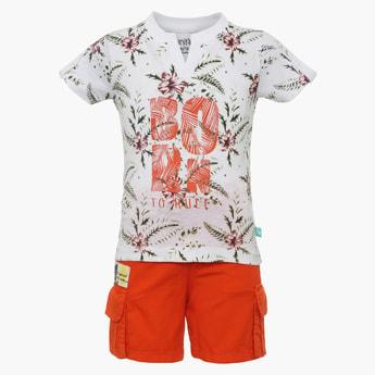 FS MINI KLUB Tropical Print T-Shirt & Shorts Set