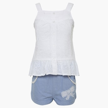 FS MINI KLUB Eyelet Cotton Top & Shorts Set