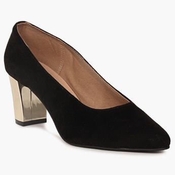 RAW HIDE Solid Pointed Toe Block Pumps