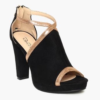 RAW HIDE Contrast Ankle Strap Zip Closure Mule Heels