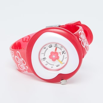 ZOOP Floral Print Heart-Shaped Analog Watch - NKC4007PP01
