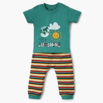 FS MINI KLUB Graphic Print T-shirt with Pyjamas - Set of 2 Pcs.