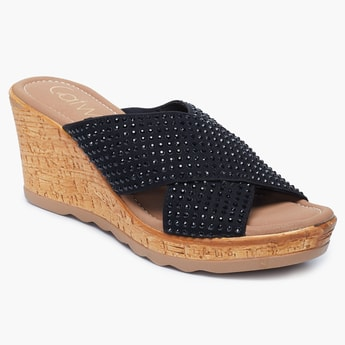 CATWALK Embellished Wedges with Criss-Cross Straps