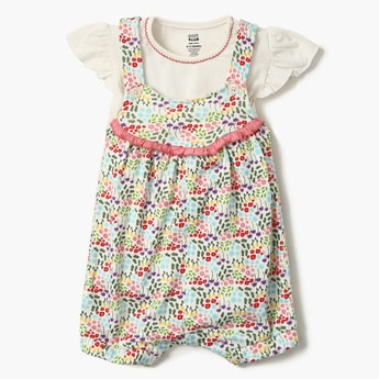 FS MINI KLUB Floral Print Ruffle Sleeves Top And Dungaree Set- 2 Pcs.
