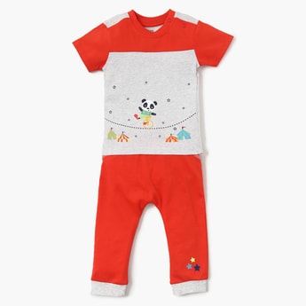 FS MINI KLUB Panda Graphic Print Top And Pyjama Set